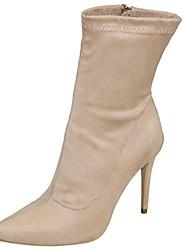 Feminino Sapatos Tecido Primavera Inverno Sapatos clube Botas da Moda Botas Salto Agulha Dedo Apontado Ziper Para Casual Social Festas &