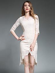 Attillato Vestito Da donna-Per uscire Casual Da party/cocktail Vintage Moda città Sofisticato Jacquard A V Asimmetrico Mezze maniche