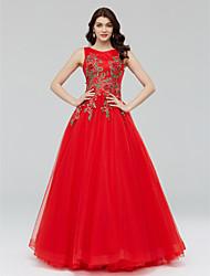 Linha A Princesa Decorado com Bijuteria Longo Tule Evento Formal Vestido com Apliques Detalhes em Cristal Flor(es) Faixa de Huaxirenjiao