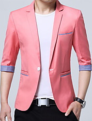 cheap -Men's Daily Work Business Casual Spring Summer Plus Size Regular Blazer, Color Block V Neck Cotton Acrylic