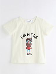 billige -Unisex T-shirt Daglig Geometrisk, Bomuld Sommer Kortærmet Hvid