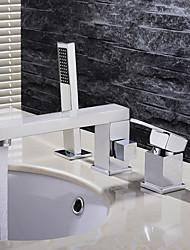 Moderne Montage Douchette inclue with  Soupape céramique 3 trous Mitigeur Trois trous for  Chrome , Robinet lavabo