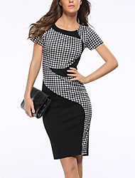 cheap -Women's Plus Size Vintage Street chic Sheath Dress - Color Block Plaid, Split High Rise