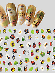 1pcs Fashion Creative Design Nail Art 3D Sticker Cute Cartoon Animal Ladybug Beautiful Flower Design Nail DIY Beauty Decoration F203
