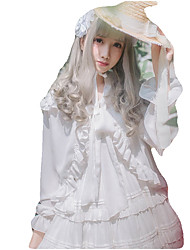 cheap -Sweet Lolita Dress Blouse/Shirt Cosplay Pink Black White Blue Fuschia Long Sleeves