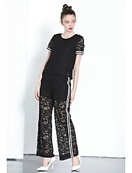 abordables -Mujer Sencillo Casual/Diario Verano T-Shirt Pantalón Trajes,Escote Redondo Un Color Pantalón largo Encaje Microelástico