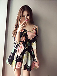 Women's Floral Patterns/Off Shoulder Going out Casual/Daily Beach Boho Street chic Chiffon Dress,Strap Mini ½ Length Sleeve Spring Summer High Rise