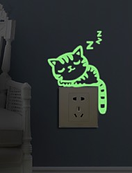 cheap -Luminous Stickers Sleepy Cat Switch Sticker Glow in the Dark Funny DIY Home Decoration Living Room Fluorescent Sticker poster