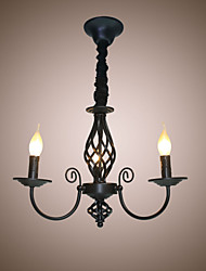 cheap -European Style Chandeliers 3 Heads Restaurants Chandeliers Simple  Bedroom Lights Creative Iron Candles  Lamps