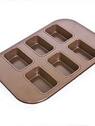 6 cups rectangle shape cake pan non stick cake mould food grade carbon steel FDA