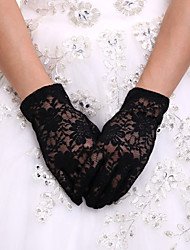 Black Wrist Length Fingertips Glove Lace Bridal Gloves Ladies' Party Gloves With DIY Pearls and Rhinestones