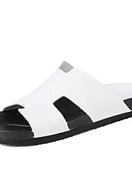 preiswerte -Herrn Schuhe Leder Frühling Sommer Herbst Komfort Slippers & Flip-Flops Wasser-Schuhe für Sportlich Normal Draussen Kleid Weiß Schwarz