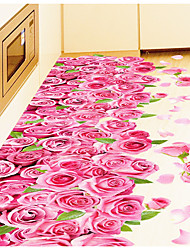 cheap -3D Pink Roses Romantic Bedroom Living Room Bathroom Wall Stick Floor