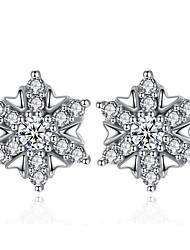 abordables -Femme Zircon cubique Argent sterling Boucles d'oreille goujon - Fleur Argent / Fuchsia Des boucles d'oreilles Pour Mariage / Soirée /