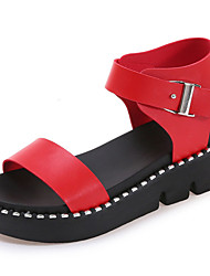 Women's Sandals Gladiator PU Spring Summer Casual Dress Gladiator Buckle Flat Heel White Black Ruby 1in-1 3/4in