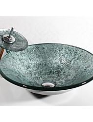 Недорогие -Современный Круглый Раковина Материал является Закаленное стекло умывальник для ванной