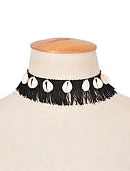 Women's Choker Necklaces Jewelry Jewelry 100% Cotton Shell Tassel Tassels Euramerican Fashion Vintage Personalized Black Jewelry For
