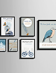 cheap -E-HOME® Framed Canvas Art   Simple Bird And Feather Color Series Theme Series Framed Canvas Print One Pcs