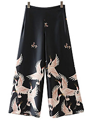 cheap -Women's Wide Leg Chinos Pants - Animal, Embroidered High Rise