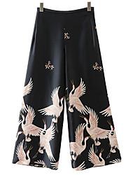 cheap -Women's High Rise Micro-elastic Wide Leg Chinos Pants Animal Print Spring Summer