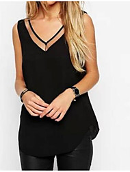 cheap -Women's Daily Casual Blouse,Solid V Neck Sleeveless Polyester Thin