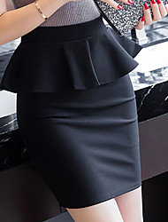Women's High Rise Above Knee Skirts,Simple Bodycon Peplum Solid