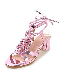 Women's Sandals Summer Fall Club Shoes Gladiator Comfort PU Wedding Party & Evening Dress Chunky Heel Imitation Pearl Lace-up Flower