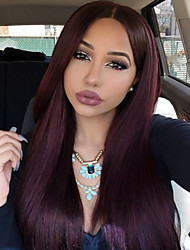 cheap -Synthetic Lace Front Wig Straight / Classic Synthetic Hair Natural Burgundy Wig Women's 22 inch / 24 inch / 26 inch Lace Front Wig