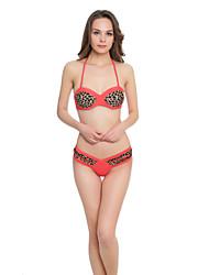 cheap -Women's Animal Print Color Block Animal Bandeau Bikini Swimwear Blue Red Yellow