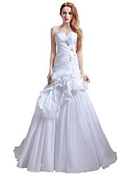Princess Sweetheart Cathedral Train Chiffon Wedding Dress with Beading Pick-Up Ruche by Sarahbridal