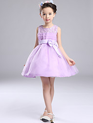 A-Line Short / Mini Flower Girl Dress - Organza Sleeveless Jewel Neck with Beading by likestar