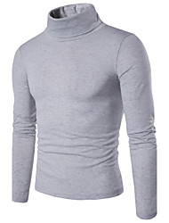 Men's Casual/Daily Simple Regular Pullover,Solid Turtleneck Long Sleeves Cotton Spring Medium Micro-elastic