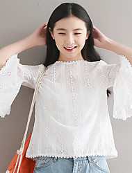 cheap -Women's Cotton Blouse - Embroidered, Classic Style