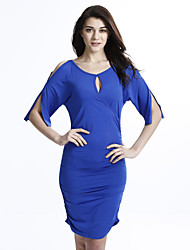 cheap -Women's Solid Club Sexy Plus Size / Bodycon Dress,Round Neck Blue / Red / Black / Green