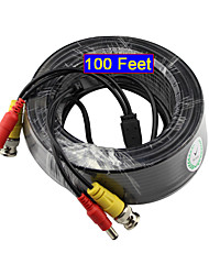 YanSe® 30 Meters 100 Feet BNC Video and Power 12V DC Cable for Security Systems Monitoring