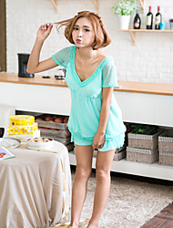 Women's Sleepwear Set V Neck Lace Patchwork Padded Sweet Casual Home Suit