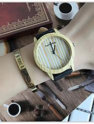 Mulheres Relógio de Pulso Único Criativo relógio Relógio Casual Relógio Madeira Chinês Quartzo / de madeira Couro Banda Legal Casual