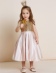 A-Line Tea Length Flower Girl Dress - Satin Sequined Sleeveless Jewel Neck with Sequin by thstylee