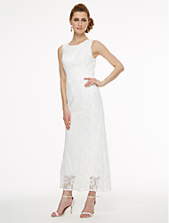 cheap -A-Line Jewel Neck Tea Length All Over Lace Mother of the Bride Dress with Lace / Pleats by LAN TING BRIDE®