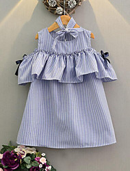 cheap -Girl's Casual/Daily Going out Striped Dress, Rayon Summer Short Sleeves Stripes Bow Light Blue