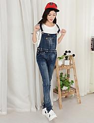 economico -Da donna A vita medio-alta Romantico Casual Media elasticità Taglia piccola Jeans Tuta da lavoro Pantaloni,Tinta unita Primavera Autunno