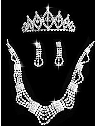 Set di gioielli Strass Gioielli di Lusso Strass Quadrato 1 collana 1 paio di orecchini 1 gioiello per capelli PerMatrimonio Feste