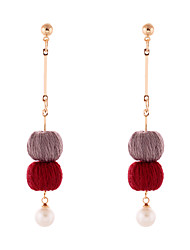 cheap -Lureme Handmade Simple Gold Long Chain with Burgundy and Grey Pom Pom Dangle Earrings