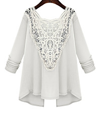 cheap -Women's Daily Cute Blouse,Embroidered Deep U Long Sleeves Cotton
