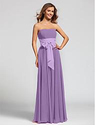 A-Line Strapless Floor Length Chiffon Bridesmaid Dress with Sash / Ribbon by LAN TING BRIDE®