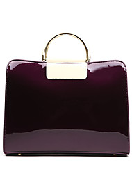 cheap -Women Patent Leather Casual Office & Career Tote Amethyst Ruby Black Blue