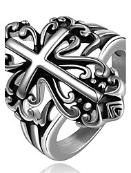 cheap -Men's Crossover Ring - Stainless Steel Cross, Friends Personalized, Geometric, Unique Design 7 / 8 / 9 Silver For Halloween / Graduation / Gift