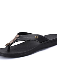 cheap -Men's Shoes PU Spring Fall Comfort Slippers & Flip-Flops Lace-up for Casual Black Brown