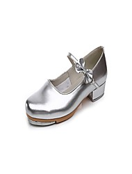 "Women's Tap Patent Leather Heel Indoor Bow(s) Low Heel Silver 1"" - 1 3/4"" Non Customizable"