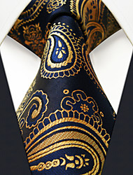 cheap -Men's Silk Necktie,Vintage Cute Party Work Casual Paisley All Seasons Navy Blue